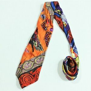 Gianni Versace Couture Silk Multicolor Prints Tie